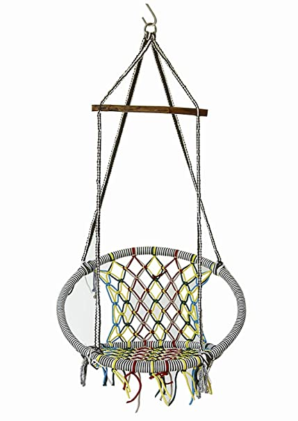 NOVICZ Hanging Swing Chair for Balcony Jhula for Kids Adults Home Indoor Outdoor Garden FRR-M-Multicolor 1 Year Warranty