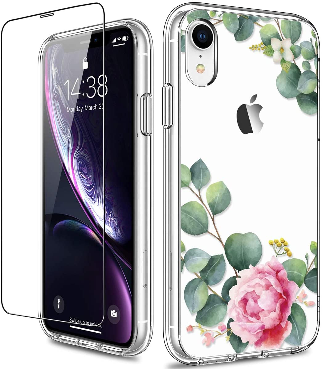 GiiKa iPhone XR Case with Screen Protector, Clear Heavy Duty Protective Case Floral Girls Women Shockproof Hard PC Back Case with Slim TPU Bumper Cover Phone Case for iPhone XR, Camellia