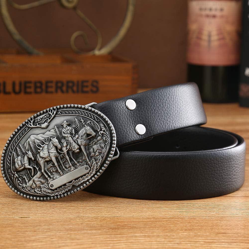 Western Belt Buckle Mountain Horse Wrangler Pattern Cowboy Belt Buckles,Silver Gray,Oval