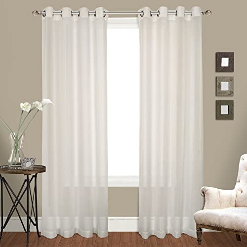 United Curtain Venetian Crushed Voile Window Curtain Panel, 100 by 108-Inch, Natural, Set of 2