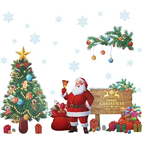 Christmas Wall Decals Removable.Kesoto Christmas Wall Sticker Santa Claus Merry Christmas Wall Decals Removable Wall Stickers Murals For Diy Home Decorations