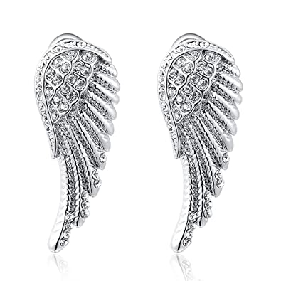Amazon womens white gold angel wings stud earrings jewelry womens white gold angel wings stud earrings thecheapjerseys Images