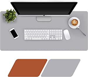 Large Desk Mat 90x40cm, Double-Sided Desk Pad, PU Leather Gaming Mouse Pad for PC Laptop, Waterproof Mouse Keyboard Mat, Non-Slip Desk Protector, Desk Writing Pad for Home Office Work, Brown & Grey