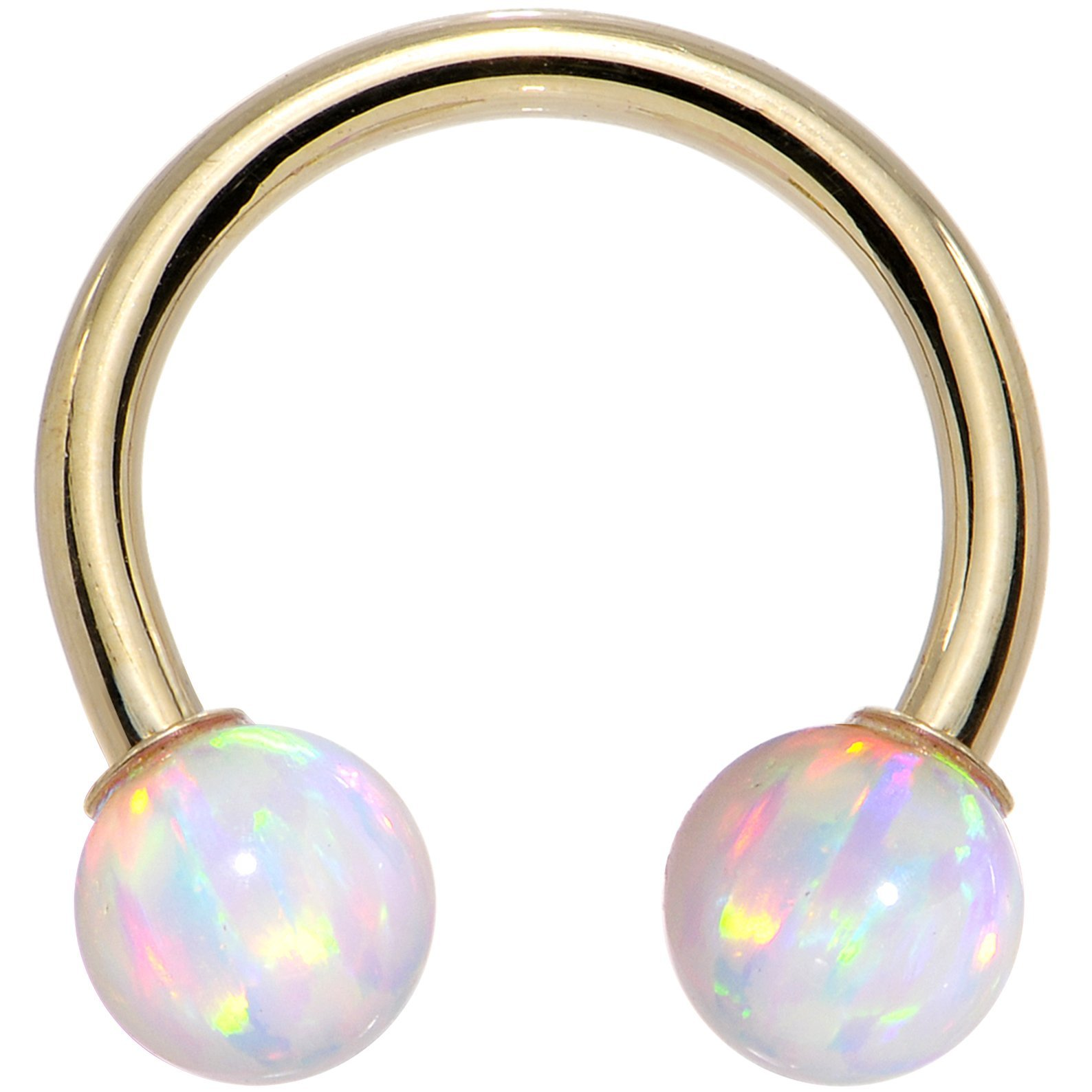 Body Candy 14k Yellow Gold White Synthetic Opal Horseshoe Piercing 14 Gauge 7/16'' by Body Candy