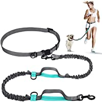 AM ANNA Retractable Hands Free Dog Leash with Dual Bungees for Dogs up to 150lbs, Adjustable Waist Belt, Reflective…