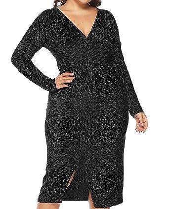 954722ec40d91 pipigo Womens Plus Size Modern Gowns Sparkling V-Neck Twist Knot Dress Black  X-