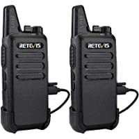 Retevis RT22 Talkie Walkie Mini Rechargeable Professionnel Portable 16 Canaux Talkie-Walkie CTCSS/DCS Scan VOX Alarme Surveillance USB de Charge(Noir,1 Paire)