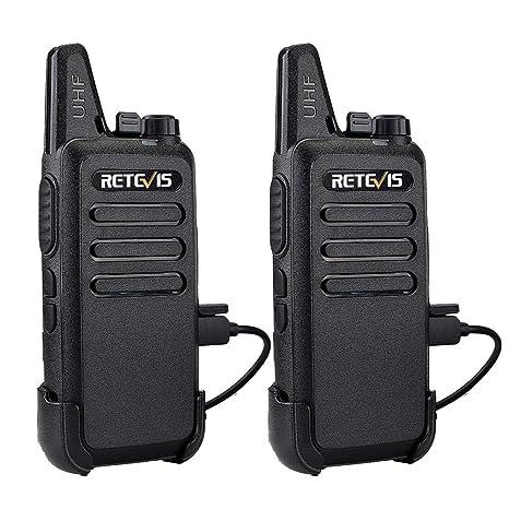 Retevis Walkie Talkie Recargable 16 Canales 2 Way Radio VOX Scan CTCSS/DCS Transmisores-receptores Radio Bidireccional con Cable USB (1Par, Negro)