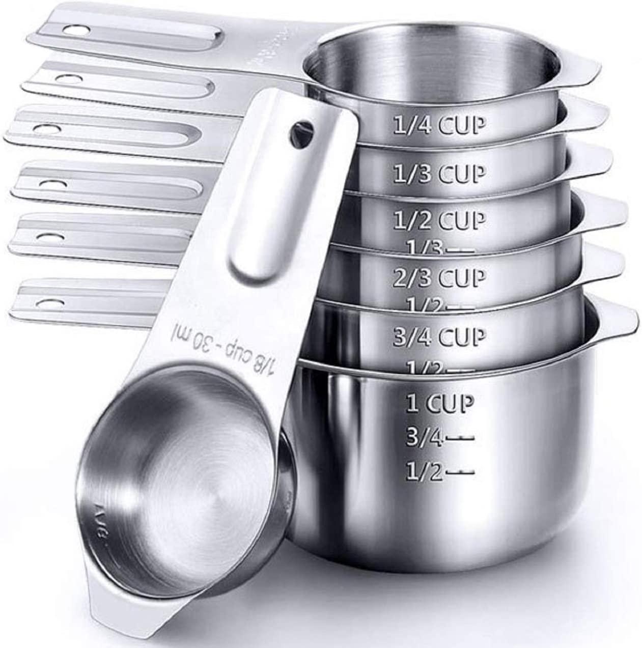 Measuring Cups,Stainless Steel Measuring Cup Food Grade Measuring Cup for Kitchen Cooking and Baking (Set of 7)