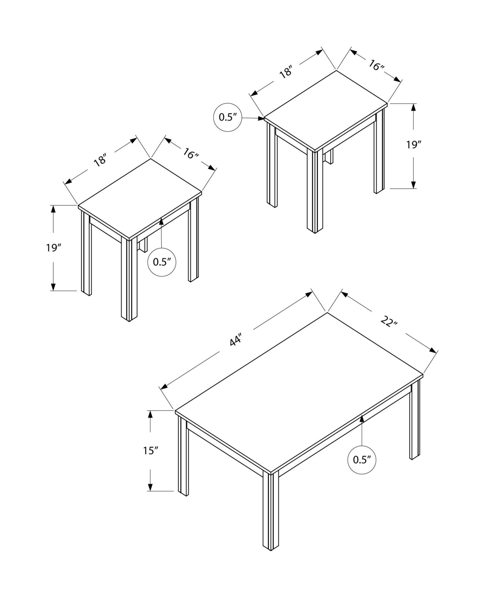 Monarch Specialties I 7912P Dark Taupe Table 3 Piece Set