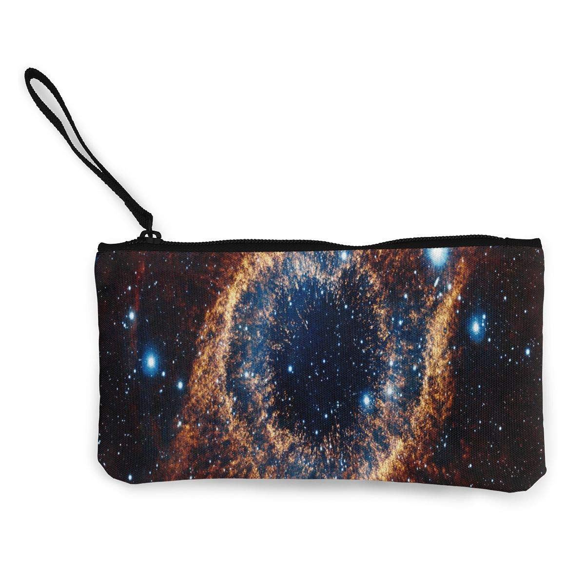 Coin Purse Space Galaxy Orange Womens Zipper Canvas Wallets ChangeFabulous Bag