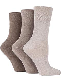 8d6f3da7a 3x Pairs of Ladies Womens Gentle Grip Diabetic Socks Honey Comb Top UK 4-