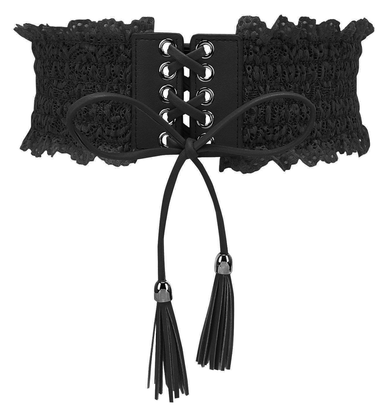 FEOYA Women's Lace Wrap Around Waist Band Bow Tie Plus Size Cincher Boho Obi Sash Belt for Dresses/Shirts, Black, M