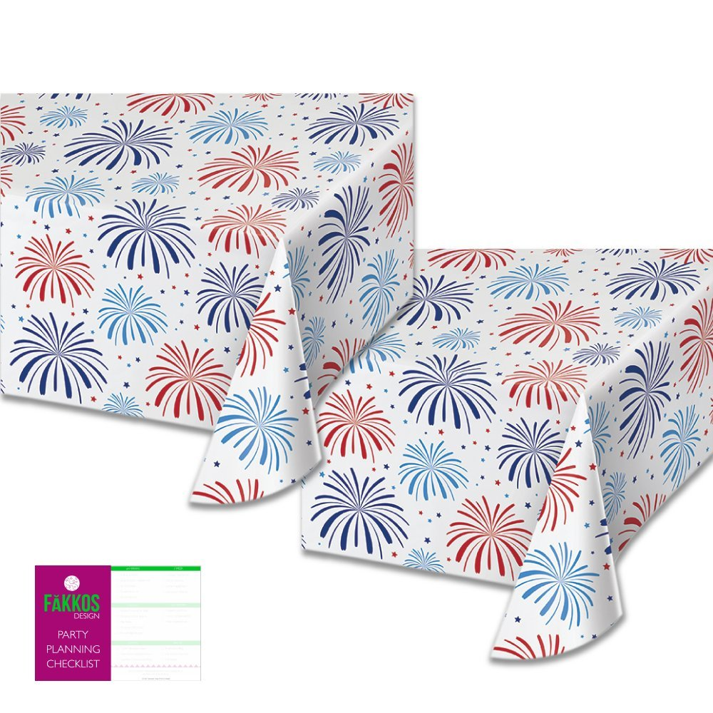 American Red White and Blue Table Cover (2 Pack) -Patriotic Fireworks Themed All Over Print