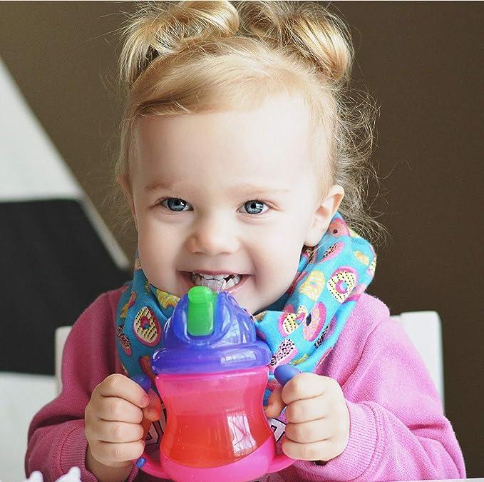Taza con pajita Nuby Sipeez Flip n Sip Trainer color rosa 240 ml, 6-12 m, sin BPA