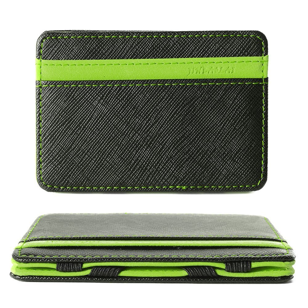 Magic Wallet Credit Card Holder 4 Card Slots Flexible Money Clip PU Leather Slim Wallets for Men Women Wallet for ID Card Business Card Money, Green UNIVERSE MALL