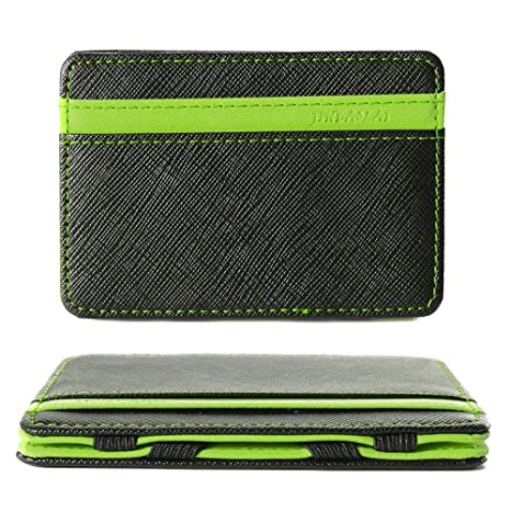 7cfed9780cb4 Amazon.com: Magic Wallet Credit Card Holder 4 Card Slots Flexible Money Clip  PU Leather Slim Wallets for Men Women Wallet for ID Card Business Card Money,  ...