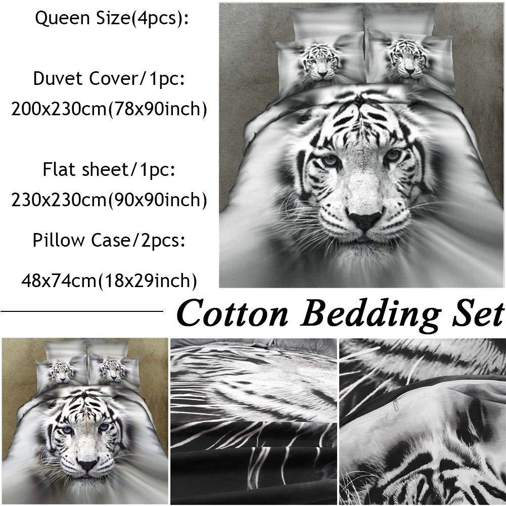 Juego de ropa de cama de algod/ón 3D dise/ño de tigre blanco realista juego de 3//4 piezas juego de funda de edred/ón y fundas de almohada