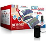 Spacesaver Premium Vacuum Storage Bags. 80% More Storage! Electric Pump for Travel! Double-Zip Seal and Triple Seal Turbo-Val