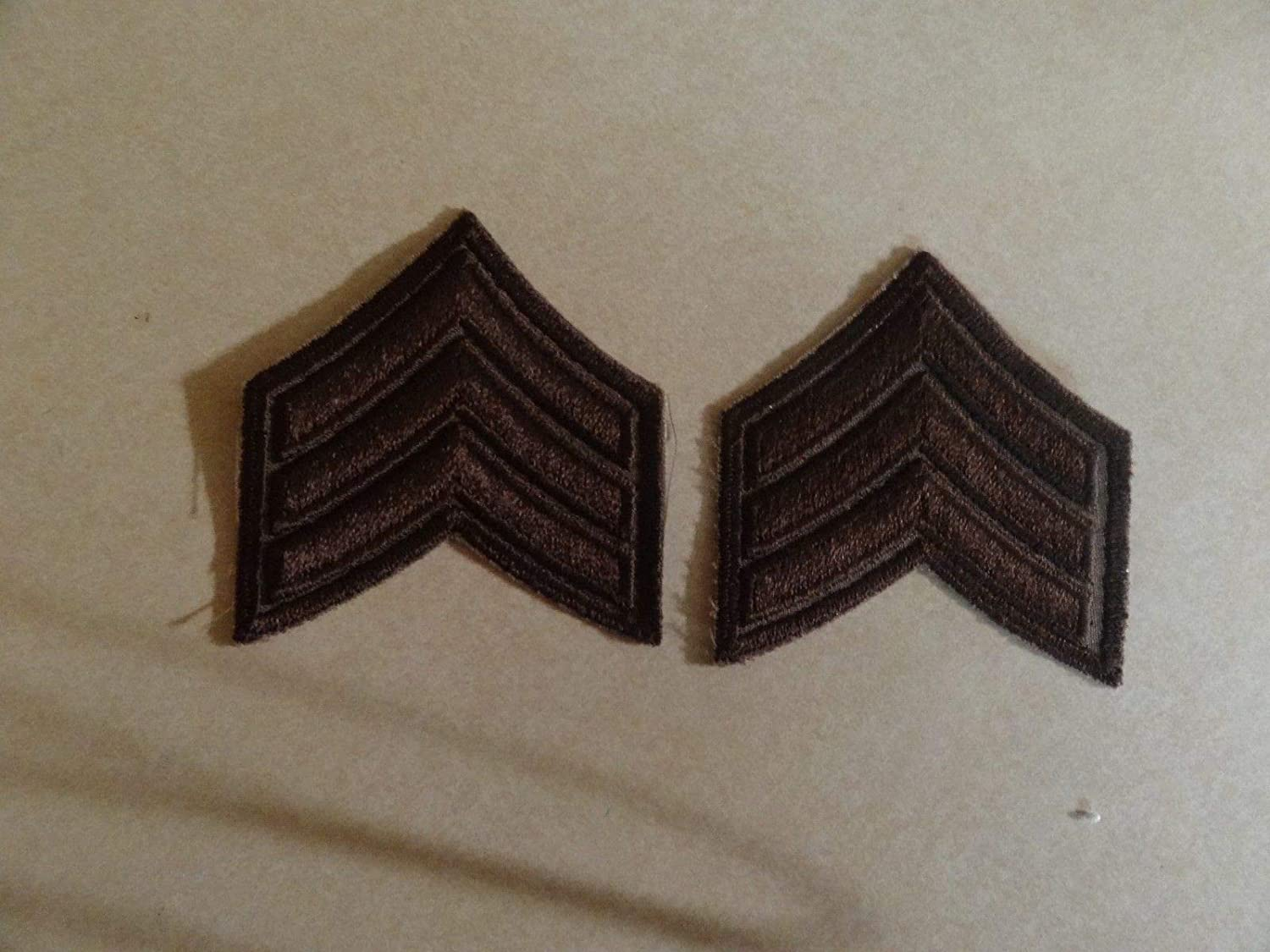 MILITARY PATCH US ARMY CLOTH RANK SET OF 2 SERGEANT E-5 BROWN POLICE SHERIFF