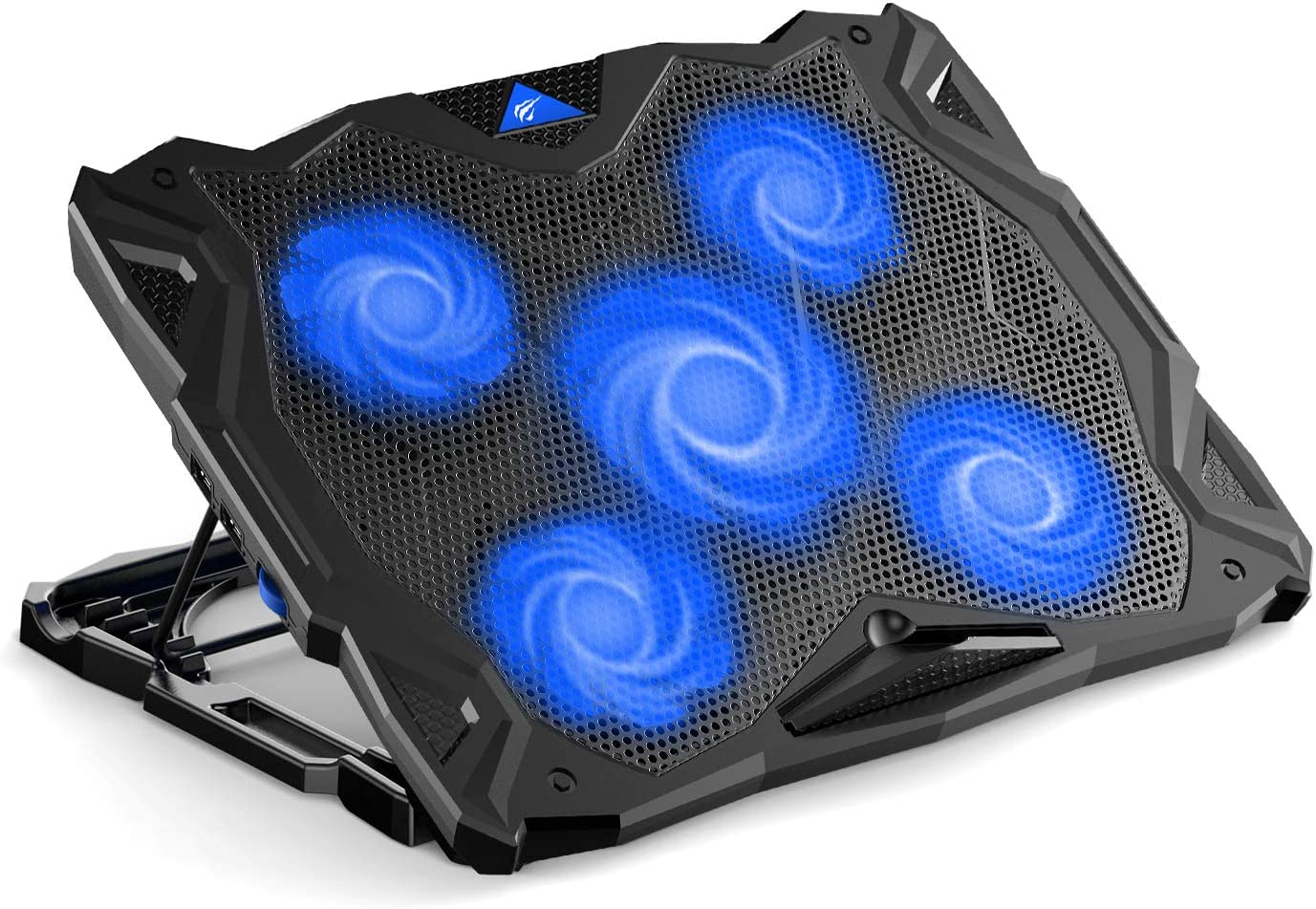 Havit Laptop Cooling Pad Computer Quiet Cooler with 5 Quiet Fans and 2 USB Ports, Portable Cooling Stand with LED Light for 14-17 Inch Laptop (Blue)