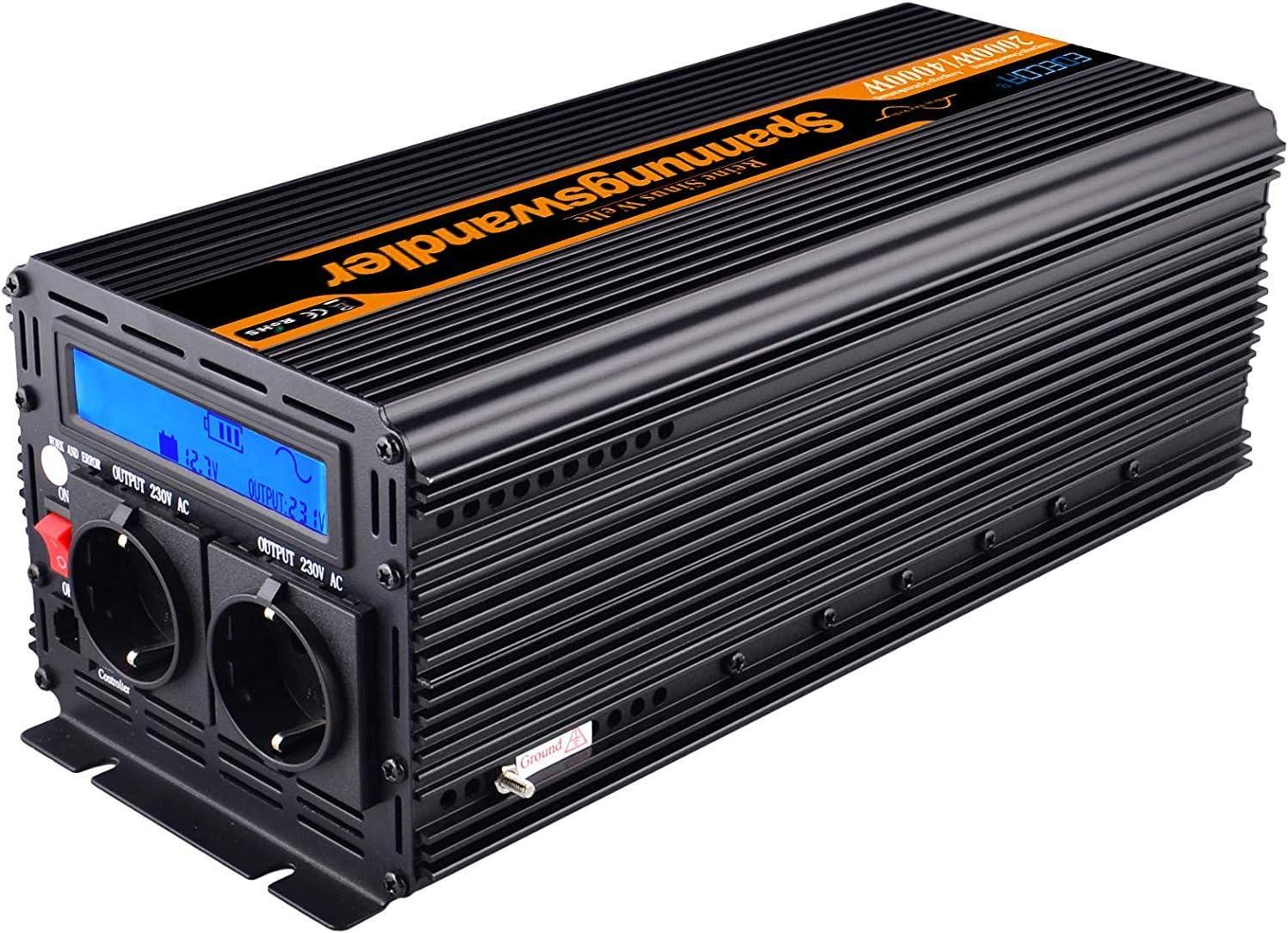 EDECOA Conversor onda pura 2000w Inversor 24v 220v con pantalla LCD 2x USB y mando a distancia Transformador para camion 2000w y pico momentaneo de 4000w
