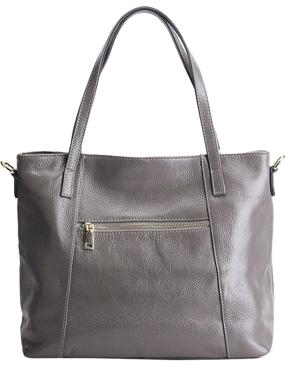 Menschwear Womens Genuine Leather Top Handle Satchel Bag Grey by Menschwear (Image #4)