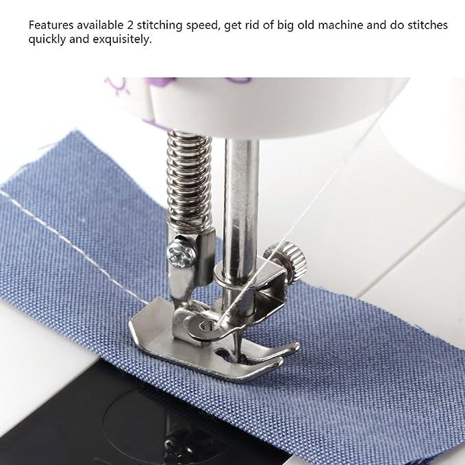 Máquina de coser eléctrica ONEVER de la máquina de coser portátil de 2 velocidades con la luz / el cortador / el pedal del pie para el principiante del ...