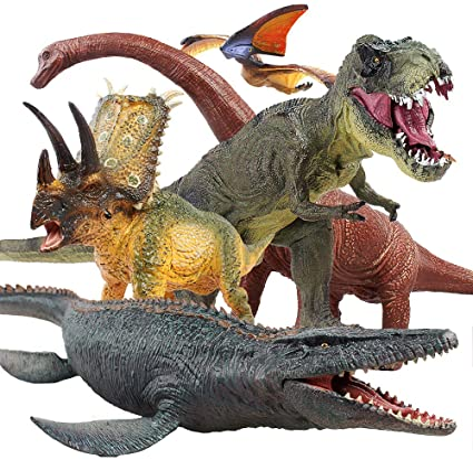 6pcs Dinosaur Figure Toys Play /&Trees Educational Realistic Dino World Playset