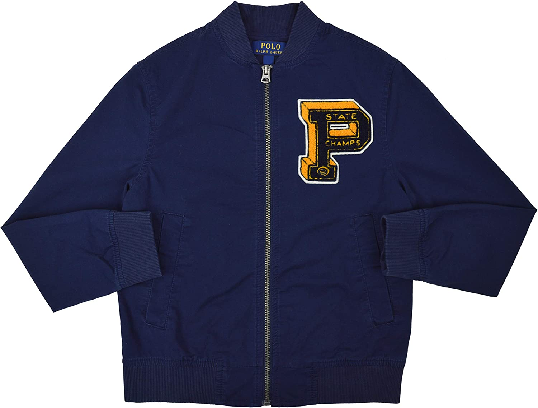 Small 8 RALPH LAUREN Polo Boys Logo Patch Full Zip Hoodie Jacket