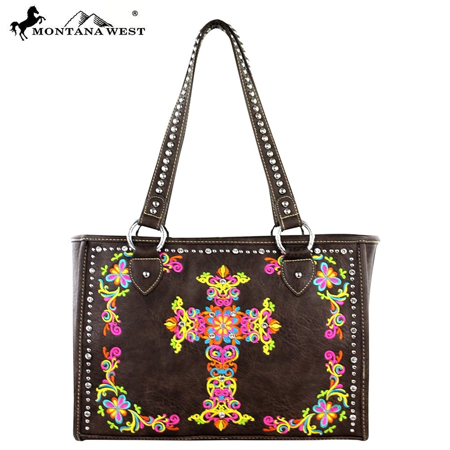 Montana West Spiritual Collection Colorful floral embroidery Cross Tote in 4 Colors