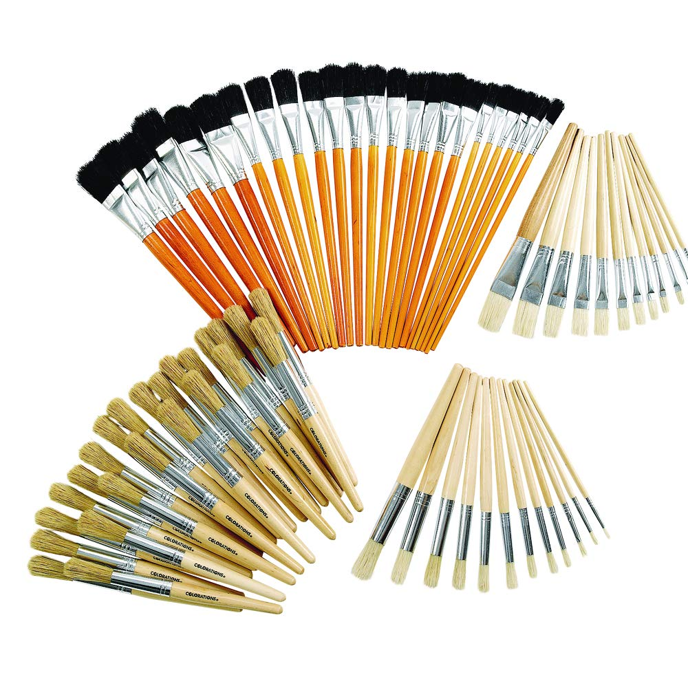 Natural Wooden Brush Kit - 72 Pieces (Item # NBKIT) by Colorations