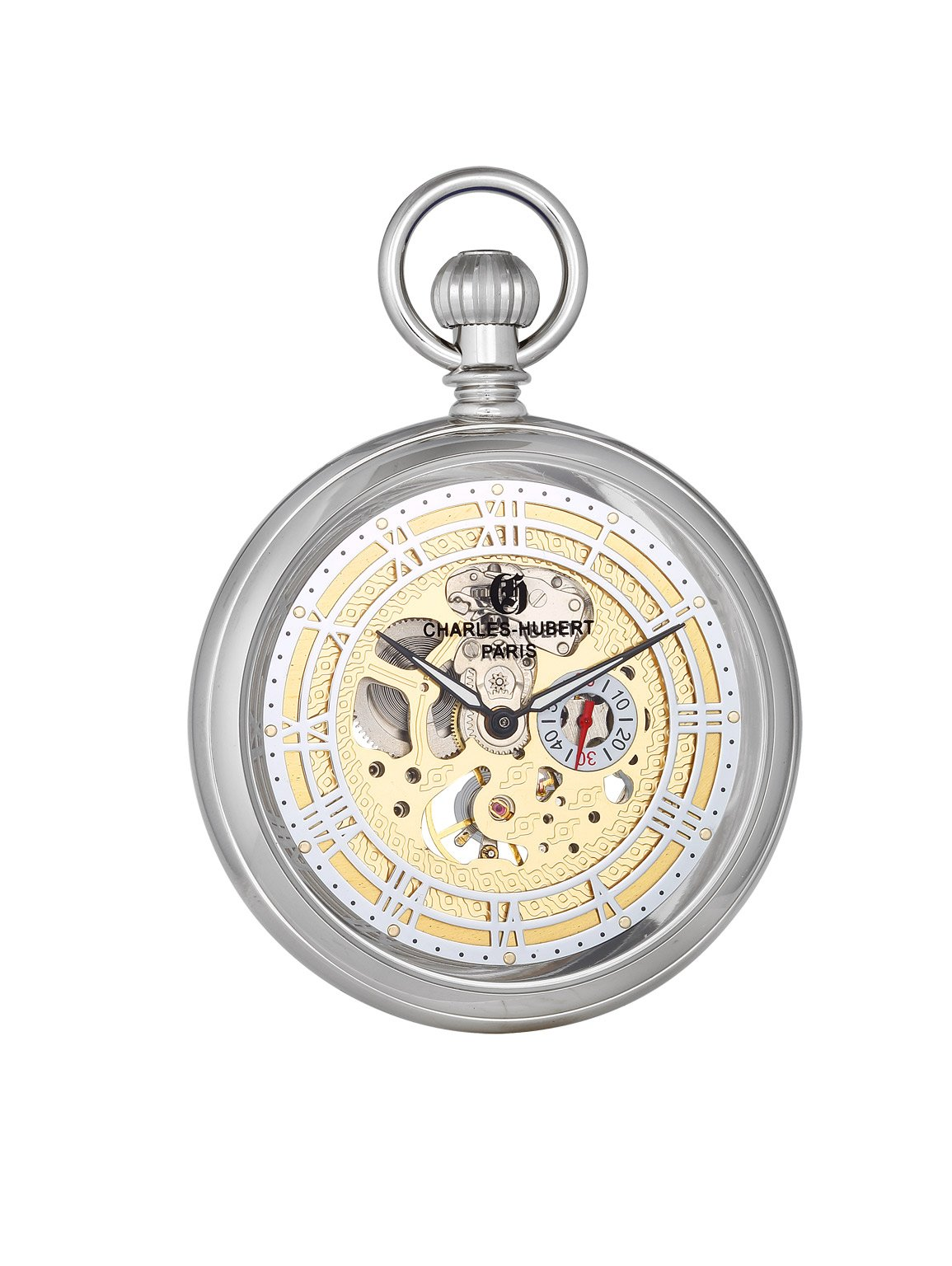 Charles-Hubert, Paris 'Classic Collection' Mechanical Hand Wind Brass Pocket Watch (Model: DWA018)