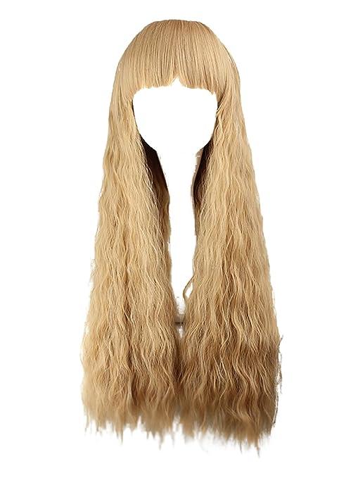 AMYHOME Peluca de Cabello Natural Largo Ondulado con Flequillo Cosplay Wig para  Mujer Postizo Fiesta Estilo 8dc0d9d95431