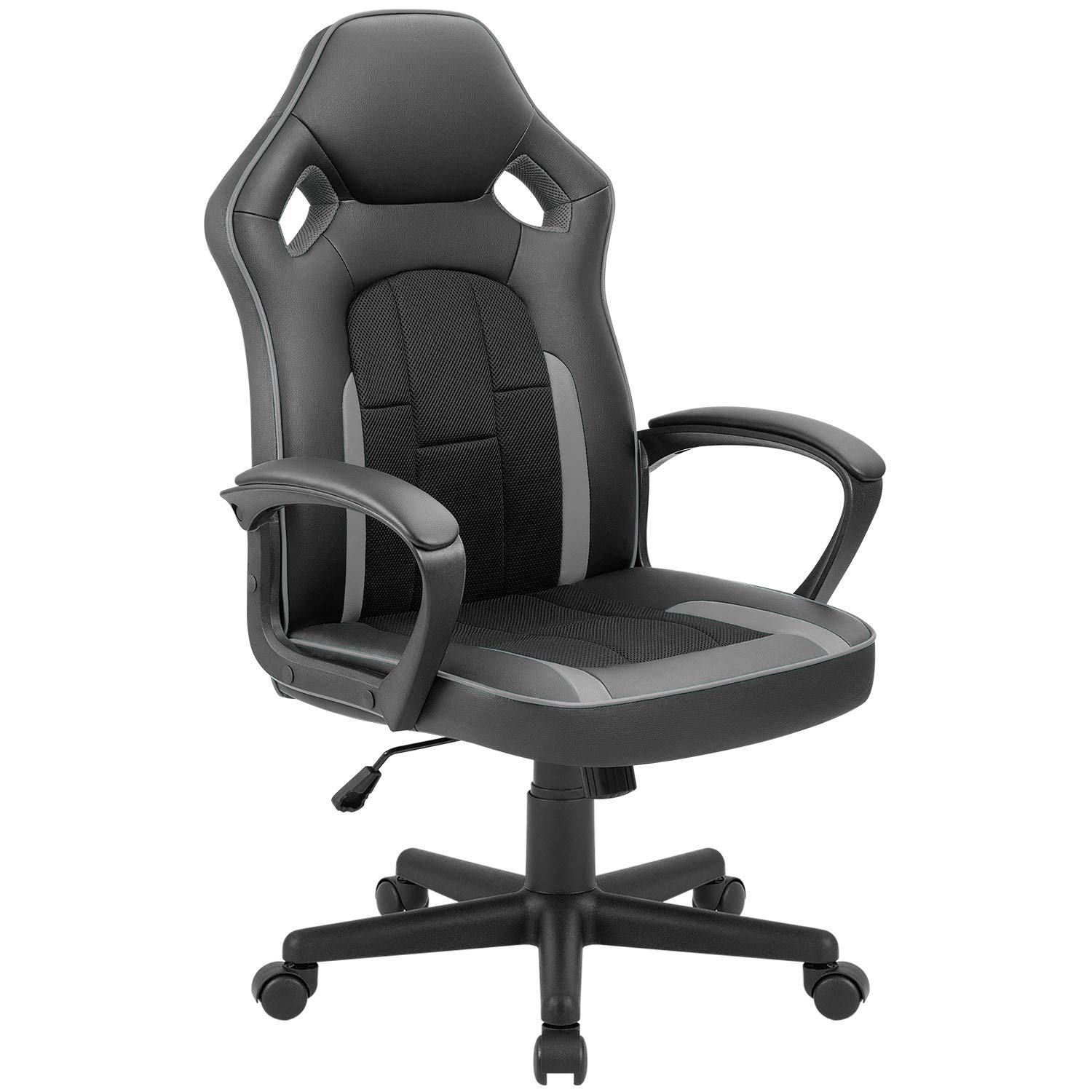 Tuoze Office Desk Chair Racing Style High Back Leather Gaming Chair Ergonomic Adjustable Swivel Executive Computer Chair for Home and Office Grey