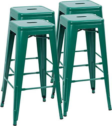 Furmax 30 Inches Metal Bar Stools High Backless Stools Indoor Outdoor Stackable Kitchen Stools Set of 4 Green - the best outdoor bar stool for the money
