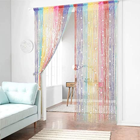 Grigio Farfalla String Tassel Panel Curtain Room Divisorio Finestra Hanging 1m X 2m 8Color