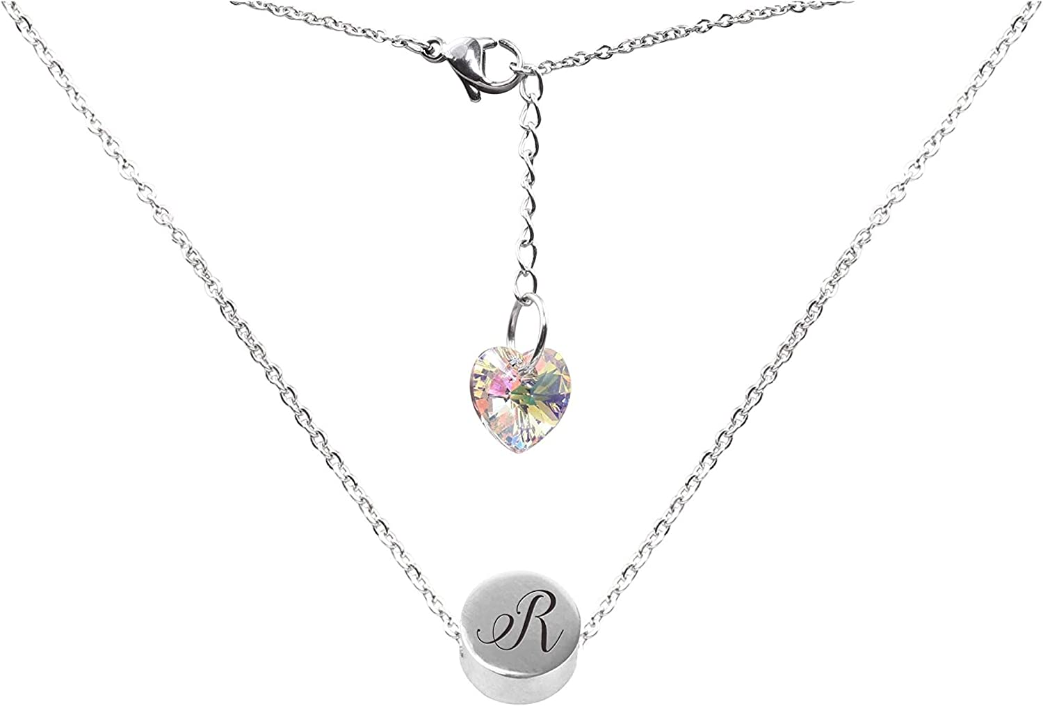 Pink Box Round Slider Bead Initial Necklace Made with Crystals from Swarovski R