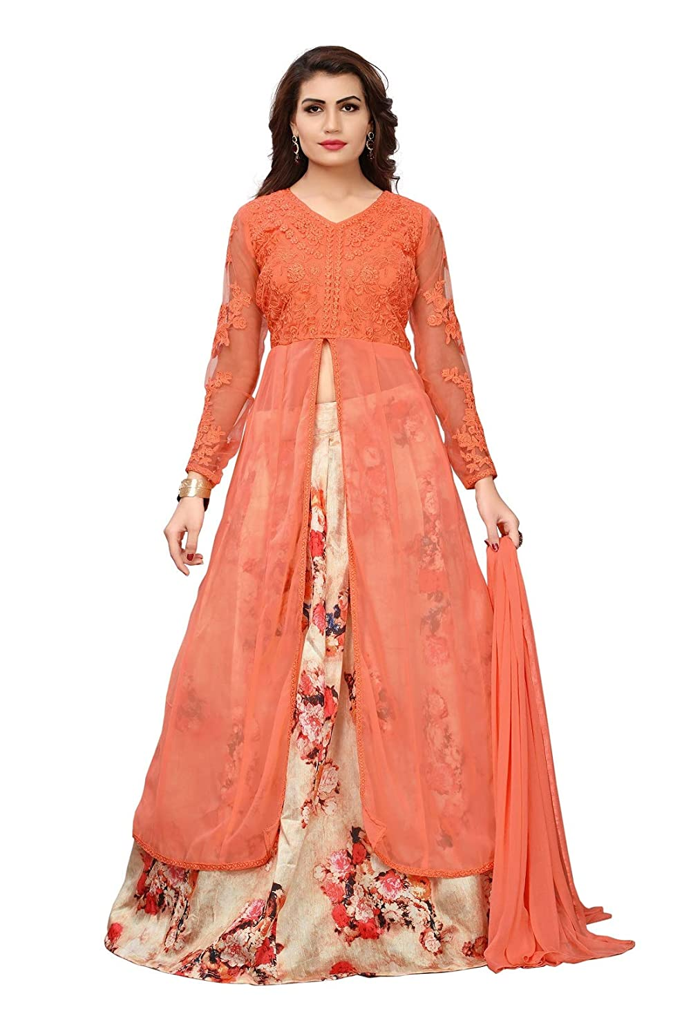 8fba024420 Saree CollectionWomen's Georgette Embroidery Indo Western Suit  (S012-Maskeen-Peach-Sco53_Peach_Free Size): Amazon.in: Clothing &  Accessories