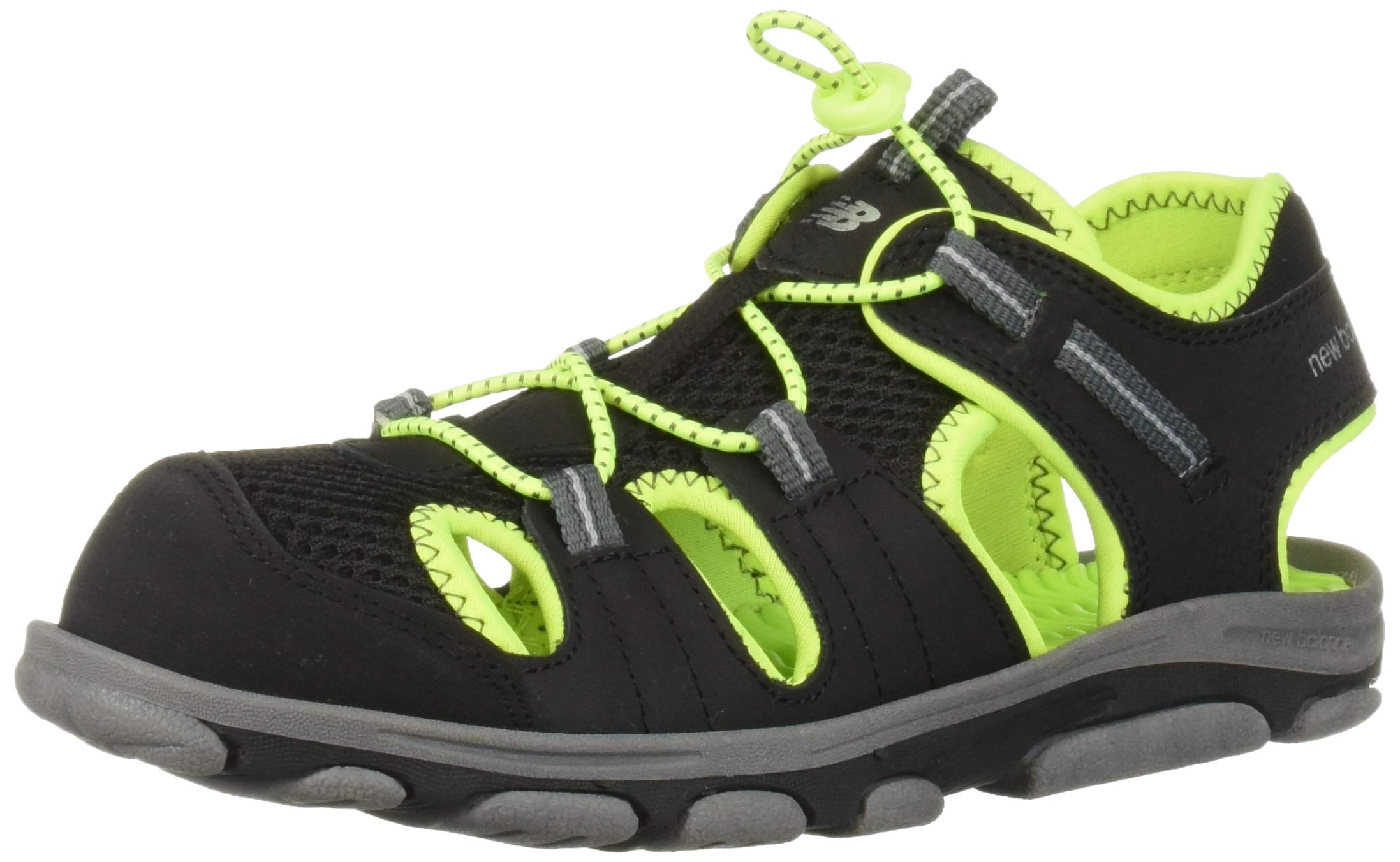 New Balance Kid's Adirondack Sandal Sport, Black/Lime, P3 M US Little