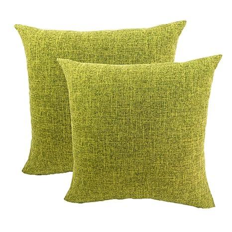 Gspirit Funda cojin 2 Pack Decorativo Algodón Lino Throw Pillow Case Funda de Almohada 45x45cm, Regalo Divertido (Cian)