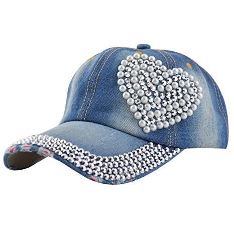Image Unavailable. Image not available for. Color  Egoodbest Women Loving  Heart Bling Rhinestone Sport Jeans Baseball Golf Cap Hat 0a7683fd93ab