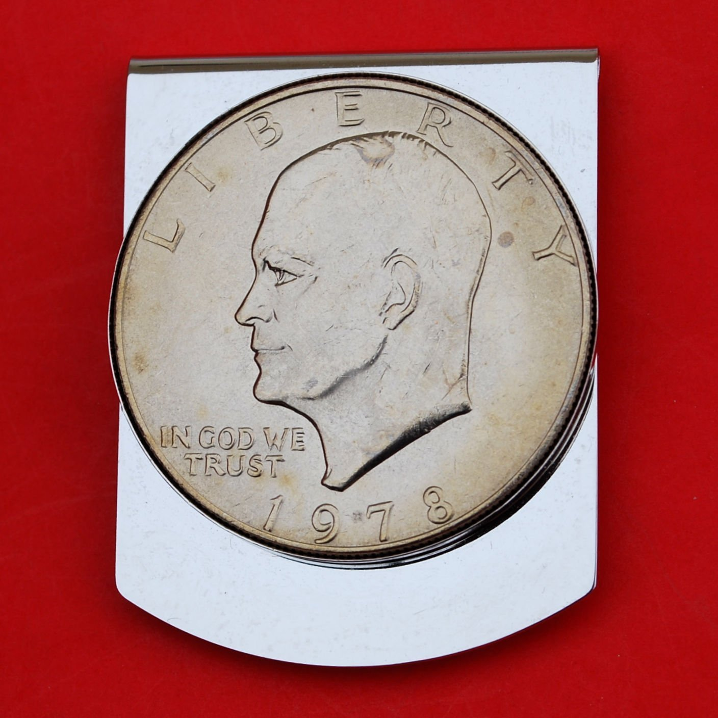US 1978 Eisenhower Dollar BU Uncirculated Coin Stainless Steel Large Money Clip NEW - Wide Design