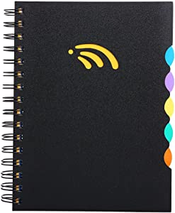 "A5 Notebook, 5 Subject Spiral Notebook and Journals, Wide Ruled, Lab Professional Notepad, Colored Dividers with Tabs, 5.83""×8.27"", 290 Pages, Hardcover Memo Planner for School Boys Girls Men Women"