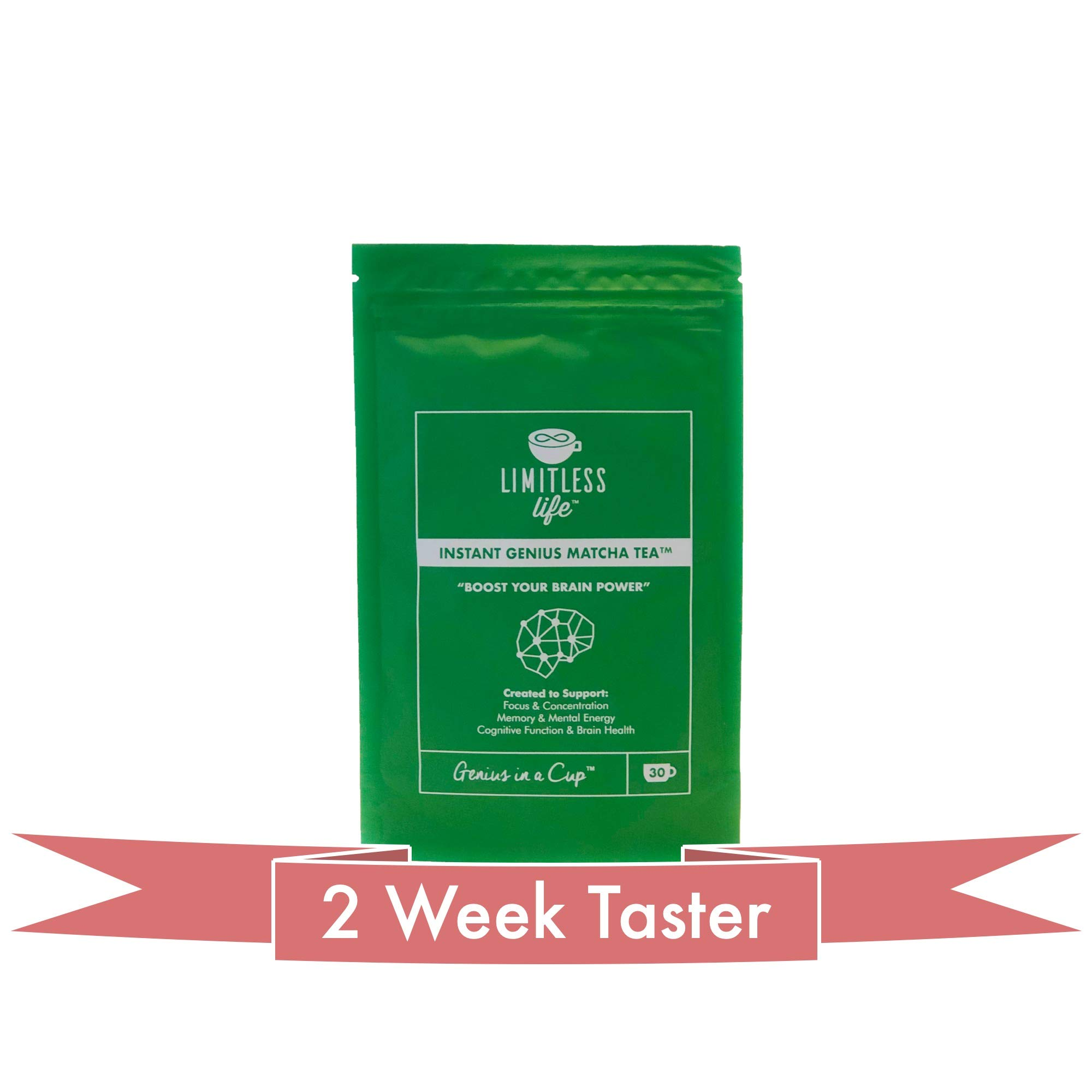 Limitless Life Instant Genius Matcha Tea - Nootropic Infused Matcha Tea created to improve focus, memory, cognitive function and assist brain health