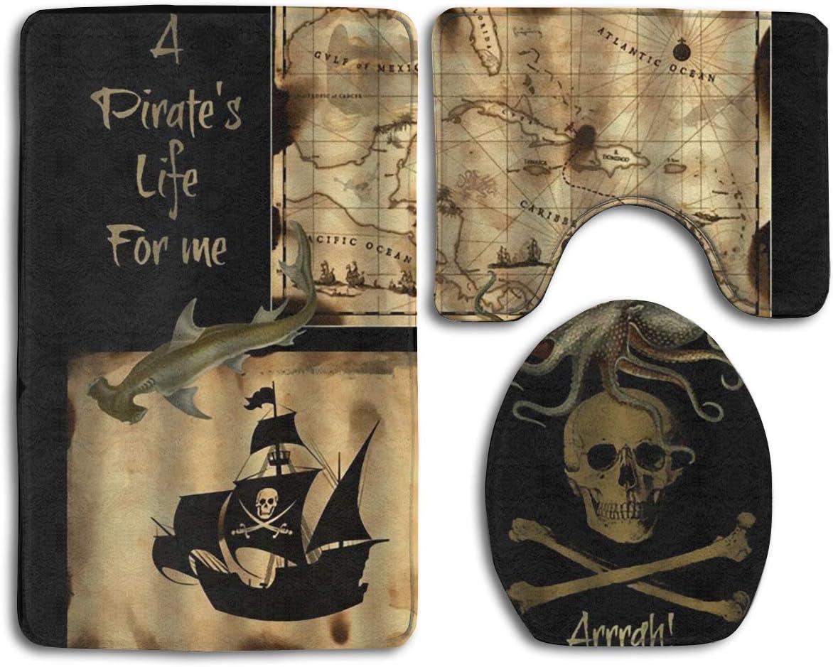 Jianyue Pirate Ship Sea Ocean Nautical 3PC Bathroom Mats Set,Bath Mat,Bathroom Carpet Rugs,Contour MatPedestal Rug + Lid Toilet Cover + Bath Mat,Carpet for Washroom Non-Slip