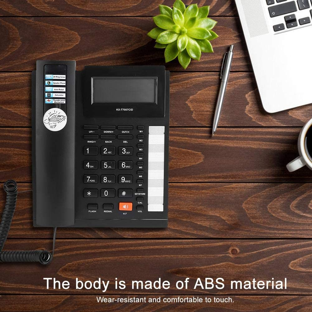 Wendry Landline Phone Dual Interface Caller ID Big Buttons Home Office Phone Black Desk Corded Phone