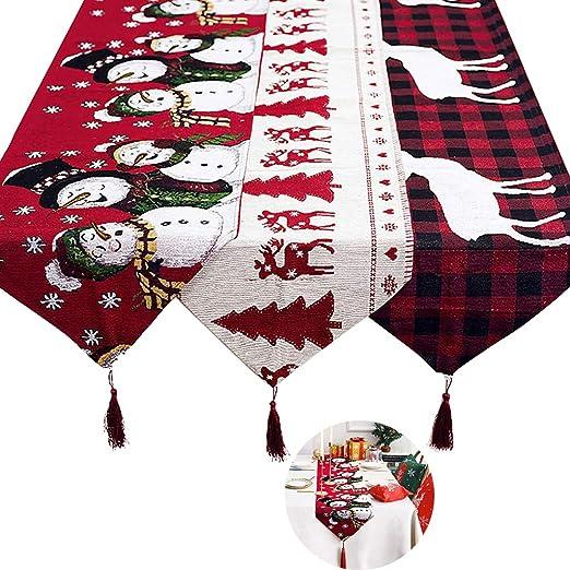 ZSZBACE Camino de Mesa navideño, decoración de la Cena de la ...
