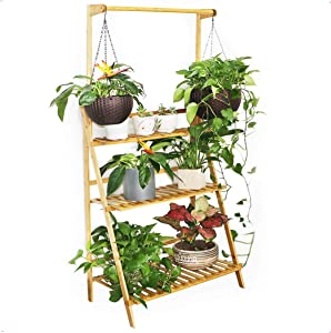 Moutik Plants Stand Folding Bamboo:Planter Pots 3 Tier Hanging Organizer Storage Shelves Rack Flower Display Shelving Unit Holder 27.5in