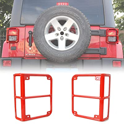 JeCar Tail Light Guard Metal Rear Light Protector Cover for 2007-2020 Jeep Wrangler JK & Unlimited Sports Rubincon Sahara, Red: Automotive